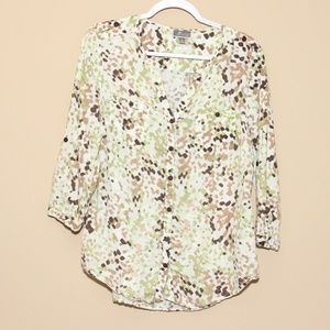 3 for $15 JM Collection Linen print 3/4 sleeve top